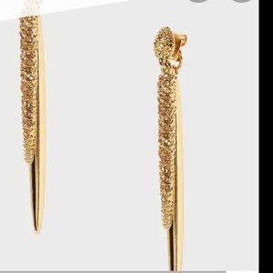 Golden metal pave spike earrings